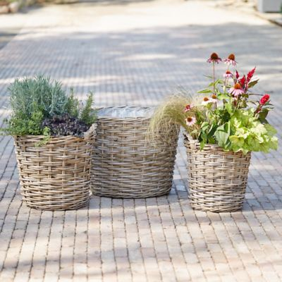 Woven Wicker Basket Planter