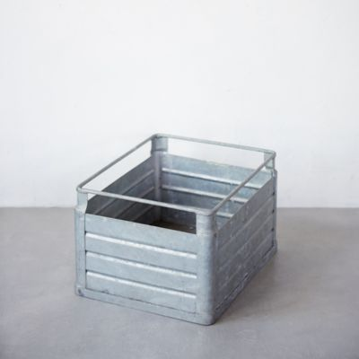 Antique Zinc Milk Crate