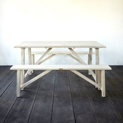Protected Teak Trestle Table