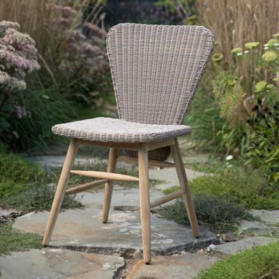 Wicker + Teak Dowel Leg Side Chair