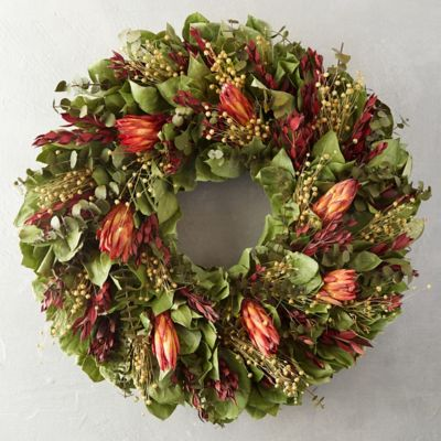 Autumn Flax & Protea Wreath