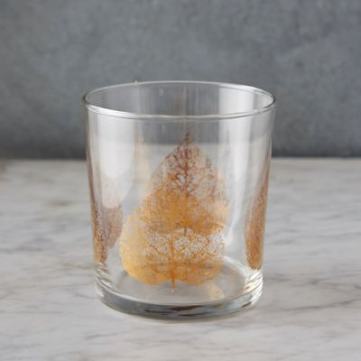 Golden Leaves Old Fashioned Glass