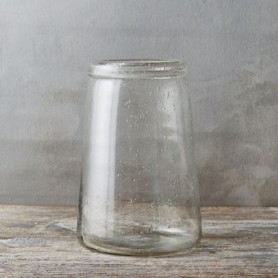 Rolled Neck Bubble Glass Vase, Wide Mouth