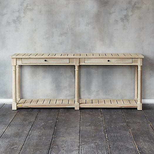 View larger image of Protected Teak Two Drawer Console