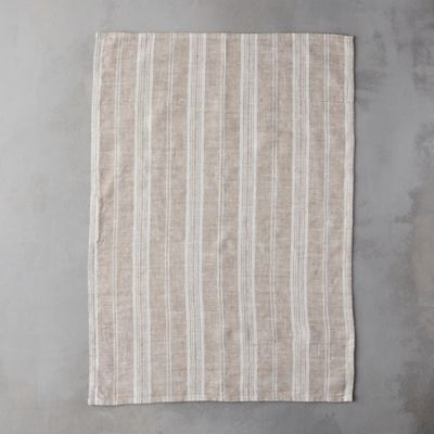 Lithuanian Linen Tea Towel, Taupe Stripe