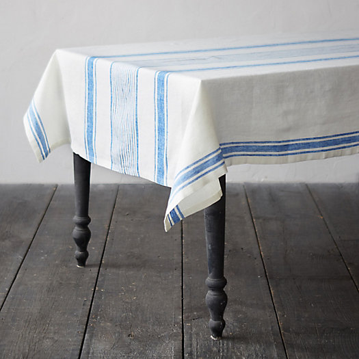 View larger image of Lithuanian Linen Tablecloth, Market Stripe