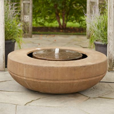 Cast Stone Wide Rim Bowl Fountain