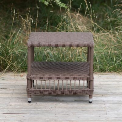 Trellis Weave All Weather Wicker End Table