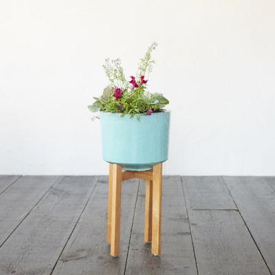 Wooden Leg Ceramic Cylinder Planter