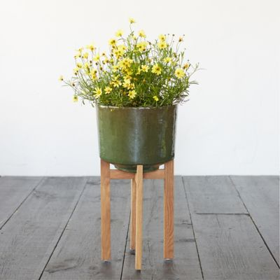 Wooden Leg Ceramic Cylinder Planter