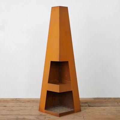 Weathering Steel Obelisk Chiminea