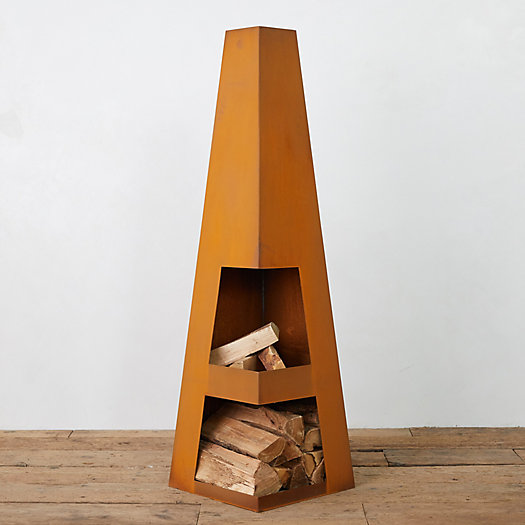 View larger image of Weathering Steel Obelisk Chiminea