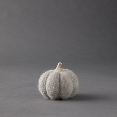 Gray Felt Pumpkins, Set of 2