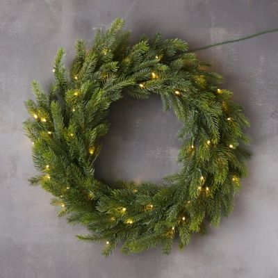 Pre-Lit LED Faux Grandis Fir Wreath