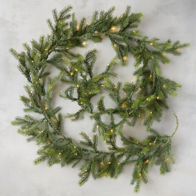 Pre-Lit LED Faux Grandis Fir Garland