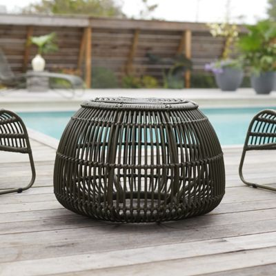Open Weave All Weather Wicker Pouf