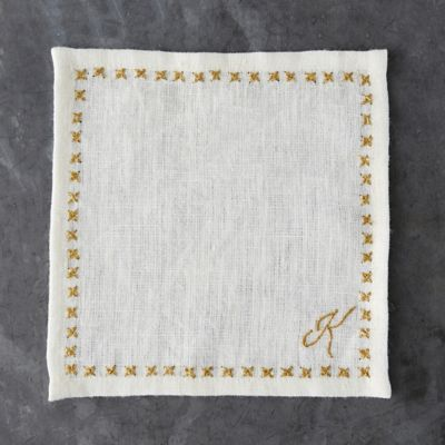 Monogrammed Cocktail Napkin Set, Ivory