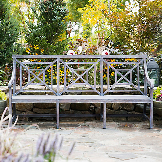 View larger image of Teak Fretwork Three Seat Garden Bench