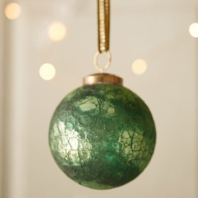 Evergreen Crackle Globe Ornament