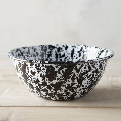 Marbled Enamel Serving Bowl, Black