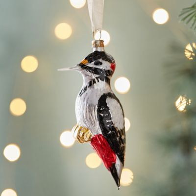 Woodpecker Glass Ornament