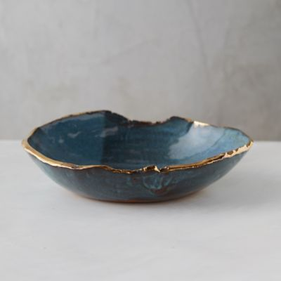 Golden Edge Earthenware Bowl