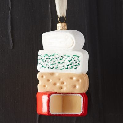 Cheese Stack Glass Ornament