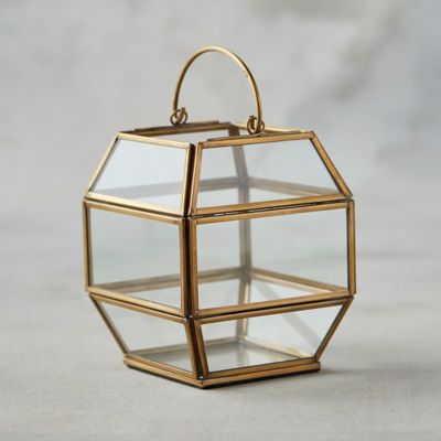 Geometric Brass Mini Lantern