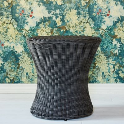 Flared Drum All Weather Wicker Accent Table