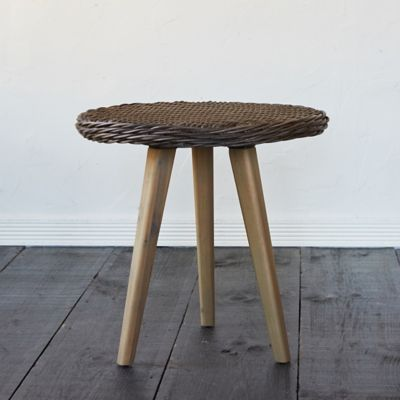 Acacia Leg All Weather Wicker End Table