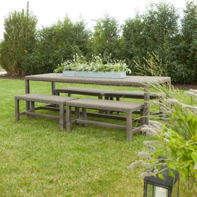 All Weather Wicker Square Leg Dining Table