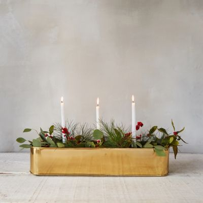 Brass Candle Centerpiece Trough