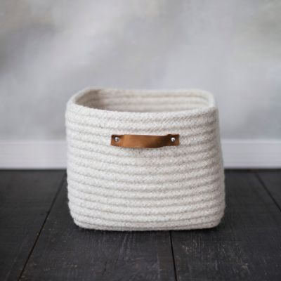 Leather Handle Wool Storage Basket