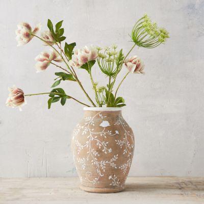 White Sprigs Terracotta Vase