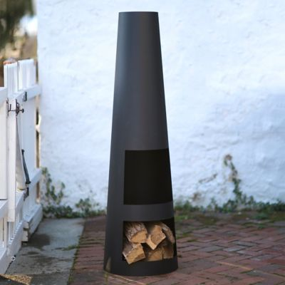Black Steel Obelisk Chiminea