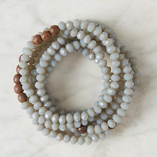 View larger image of Wood & Glass Bracelets, Set of 7