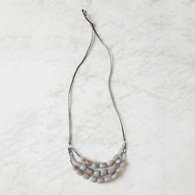 Triple Strand Gray Agate Necklace