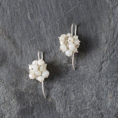 White Agate Cluster Earrings