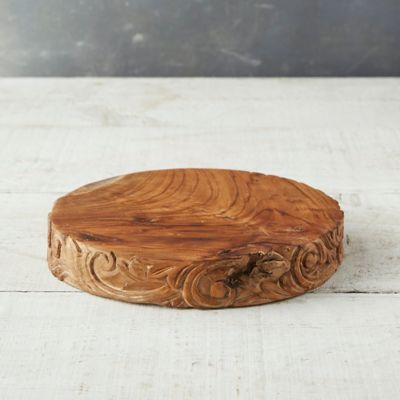 Carved Teak Serving Stand