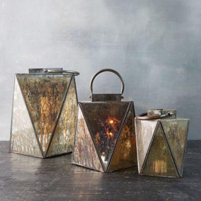 Angled Mercury Glass Lantern