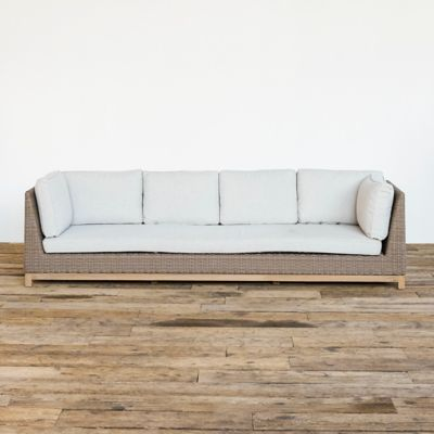 Teak Base All Weather Wicker Four Seat Sofa