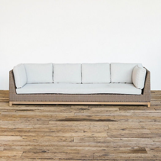 View larger image of Teak Base All Weather Wicker Four Seat Sofa