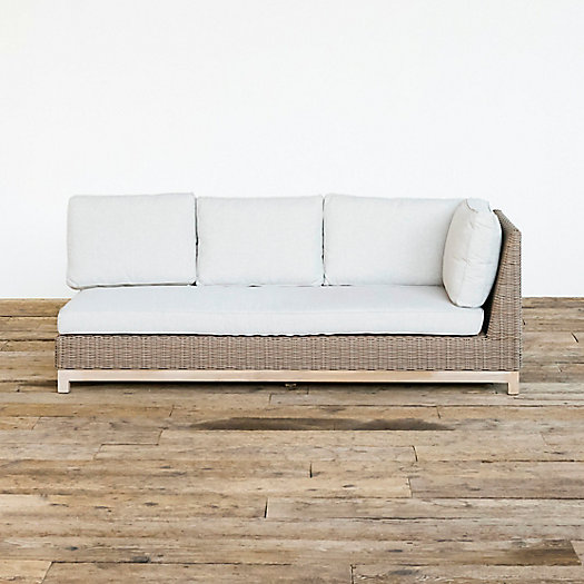 View larger image of Teak Base All Weather Wicker Sofa, Right Arm