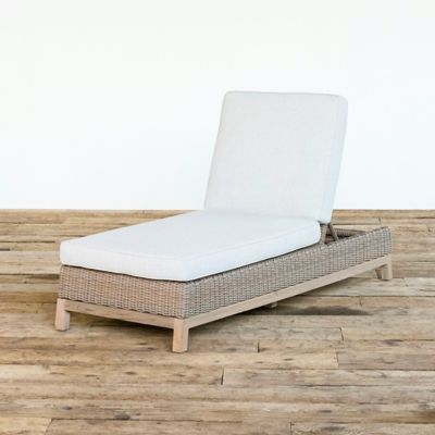 Teak Base All Weather Wicker Chaise