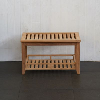 Slatted Teak Storage Bench