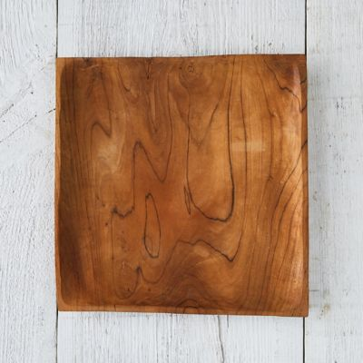 Square Teak Root Dinner Plate
