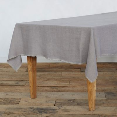 Fringed Rustic Linen Tablecloth
