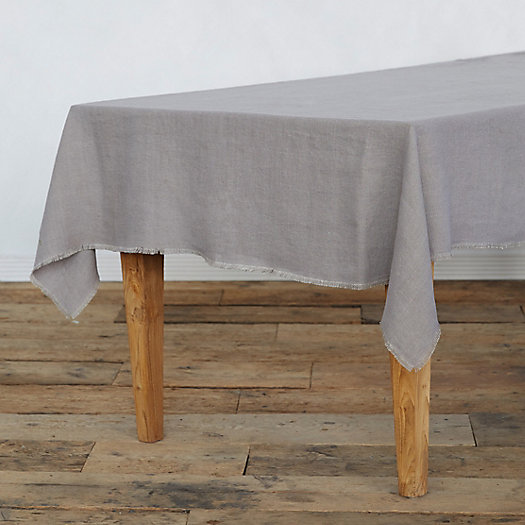 View larger image of Fringed Rustic Linen Tablecloth