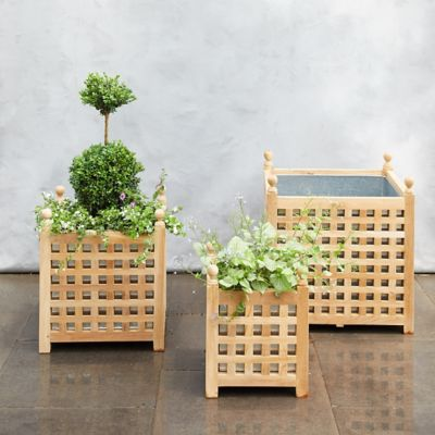 Teak Lattice Planter