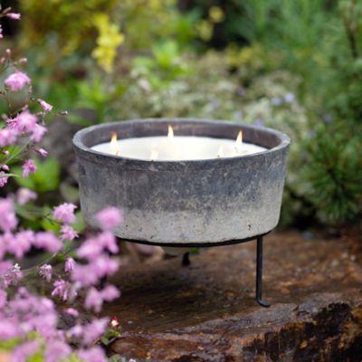 Linen Pot Citronella Candle + Plant Stand